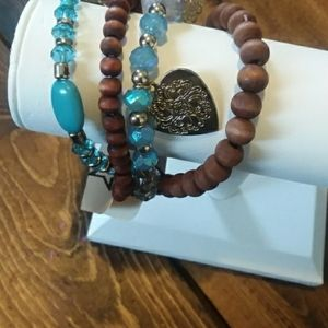 Blue and brown stretch bracelets